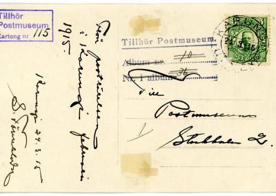 Vykort baksida till Postmuseum